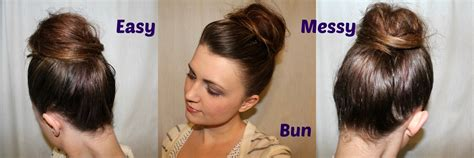 cute easy messy bun hairstyle medium hair styles ideas