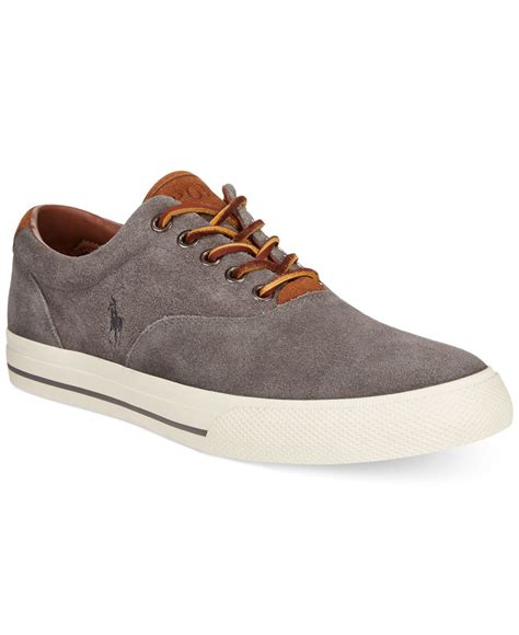 polo shoes polo ralph vaughn suede sneakers in gray for