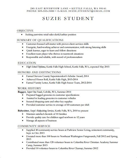 Academic Resume Template For College by Sle High School Resume