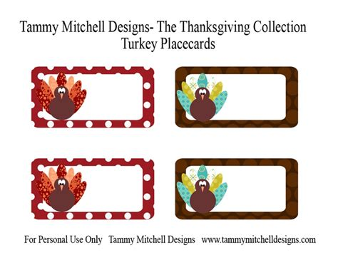 Turkey Place Card Template by Place Cards Thanksgiving Stuff