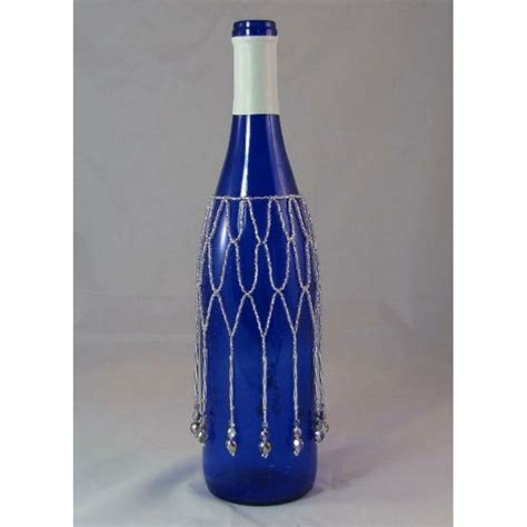 hand beaded wine bottle covers with silver glass beads