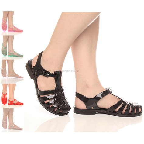 caged sandals flat womens flat jelly rubber retro caged sandals shoes