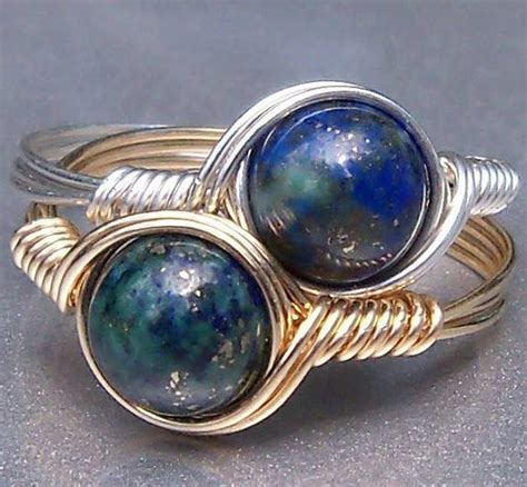 chrysocolla azurite wire wrapped gemstone ring by anjasarts