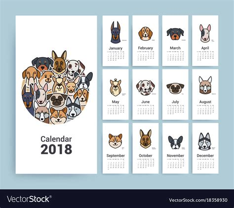 Design Template Calendar 2018 Royalty Free Vector Image Calendar Design Template 2018