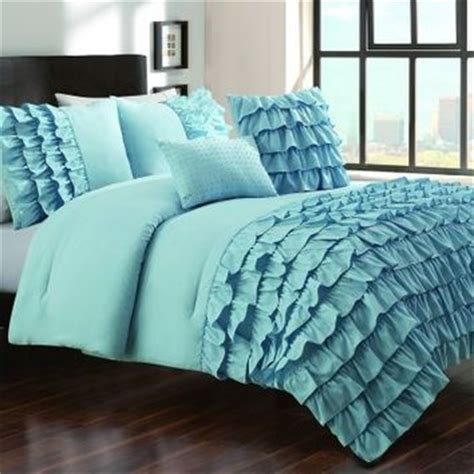 Blue Ruffle Comforter by 5 Pieces Cottage Blue Textured Ruffle From For The