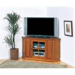 leick furniture 46 quot corner tv stand in burnished oak finish 88285