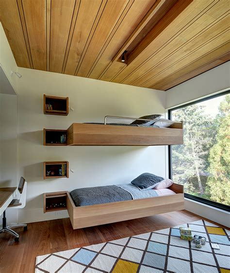 modern built in desk modern bunk beds industrial with brick wall built in