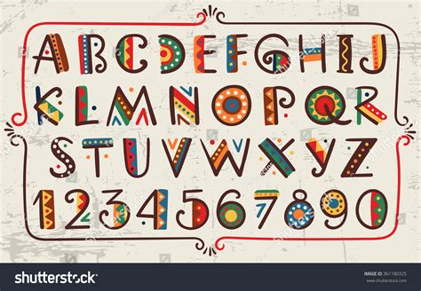 printable african fonts african ethnic bright vector alphabet hand stock vector