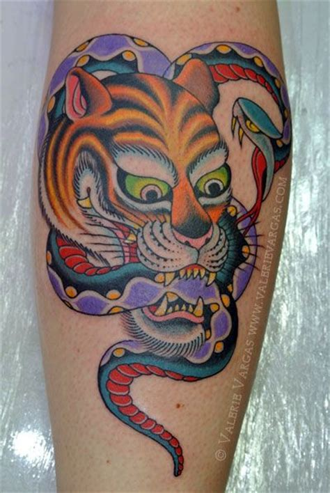 snake leg tattoo awesome tiger and snake by valerie vargas