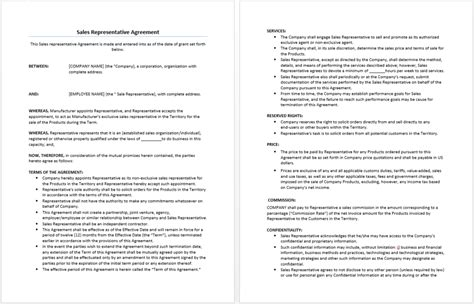 sales representative agreement template microsoft word