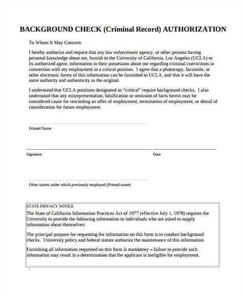 How To Check Personal Criminal Record Sle Check Authorization Form 14 Free Documents In