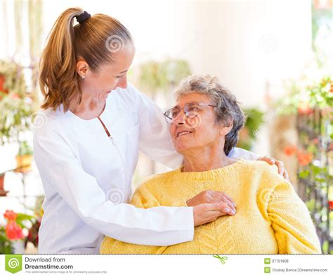 elderly home care royalty  stock  image