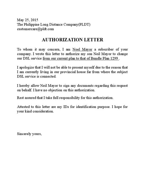 authorization letter to use utility bill pldt authorization letter sle