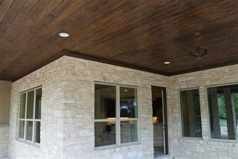 tongue and groove patio ceiling hill country house white limestone covered porch with tongue and groove pine