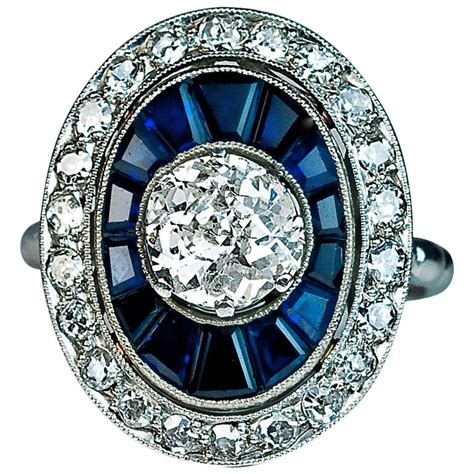 deco engagement rings sapphire deco sapphire engagement ring at 1stdibs