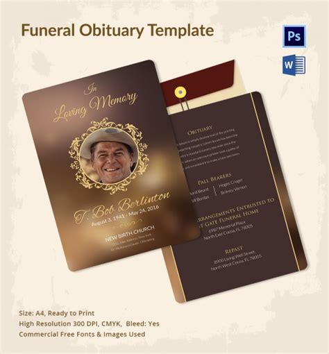 12 Sle Funeral Obituary Templates Sle Templates Obituary Template Funeral Program