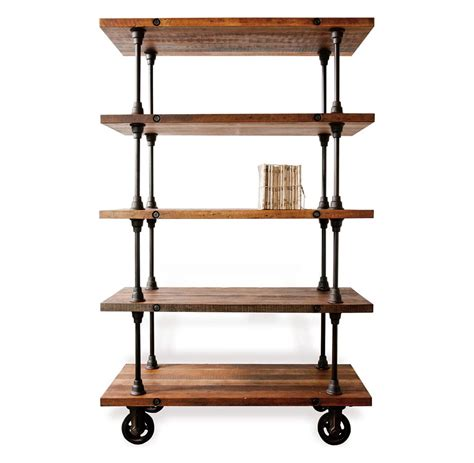 allenby industrial reclaimed wood 5 shelf rolling bookcase