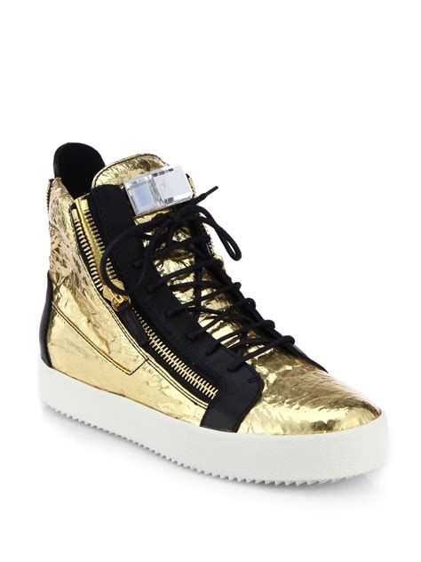 giuseppe sneakers for giuseppe zanotti foiled leather high top