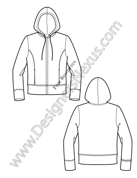 illustrator template artist sketch cards v10 knits hoodie free illustrator fashion flat sketch