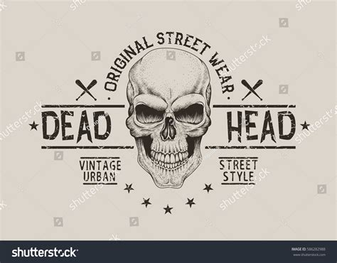 Is Vintage Fashion Really Dead by Dead Headstreet Style Label Skull Stock Vector