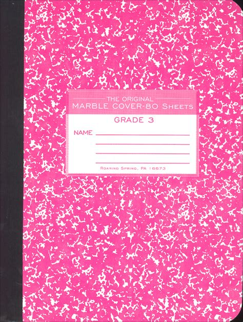 Pink Notebook cover pink marble composition notebook grade 3