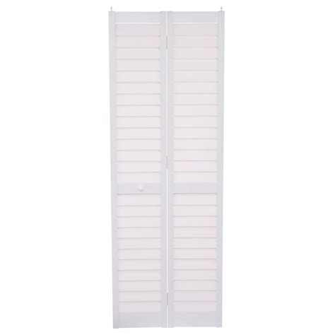 18 Inch Bifold Closet Doors Home Fashion Technologies 28 In X 80 In 3 In Louver Louver White Composite Interior Bi Fold