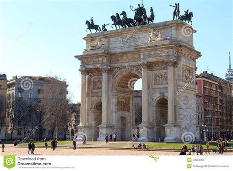 porta sempione porta sempione arch of peace in milan editorial photo