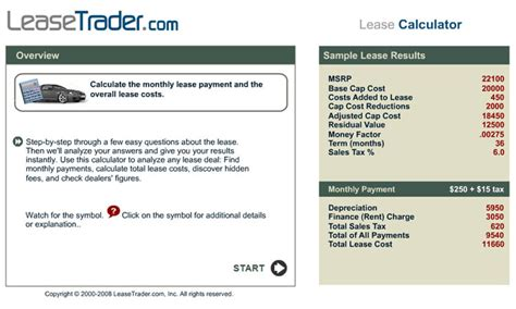 free car lease calculator by leasetrader