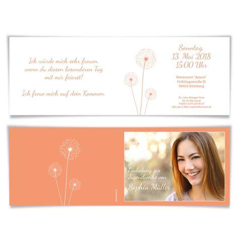 Einladungskarten Apricot by Jugendweihe Einladungskarten Pusteblume In Apricot