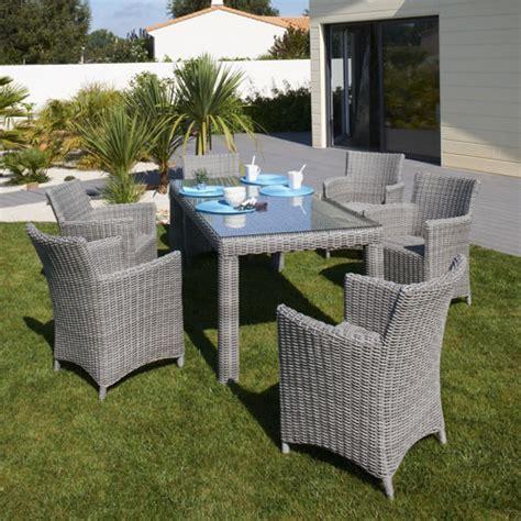 salon de jardin en r 233 sine tress 233 e table 6 fauteuils el 233 gance dcb garden prix promo decoclico