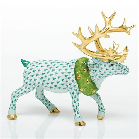 herend holiday reindeer figurine green fishnet