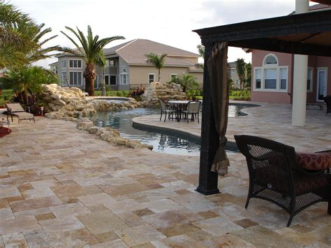 Patio And Outdoor by Falling In With Travertine Pavers Pool Deck Homesfeed