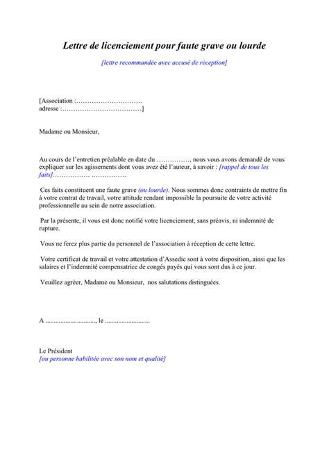 Lettre Licenciement Faute Grave Modele modele lettre licenciement faute grave