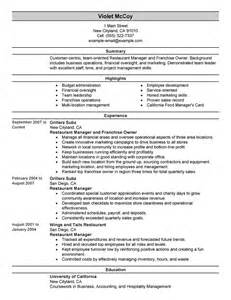 military resume examples for civilian fast food restaurant manager resume viewing gallery