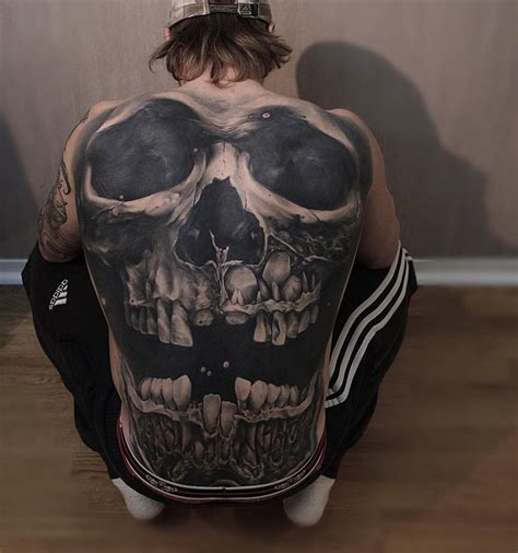 tattoo 3d in back skull back by jens olsson http tattooideas247 com skull