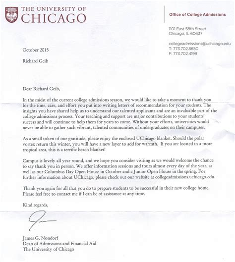 Acceptance Letter To Of Chicago Quot I The Of Chicago Quot Richard Geib S Personal Website