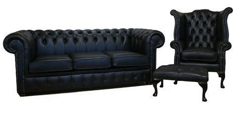 Chesterfield Black Leather Sofa Offer 3 1 Footstool Chesterfield Sofa Images
