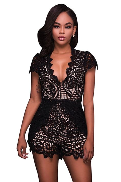 Bamboo Lace High Waist Import Womens V Neck Lace Fitting High Waist Romper Black