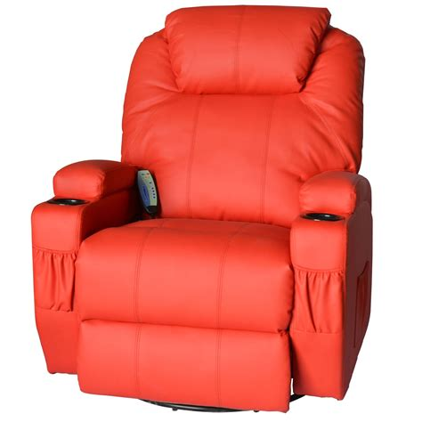 vibrating recliner chair homcom deluxe heated vibrating pu leather massage recliner