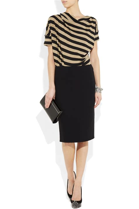 Guess Laurel Striped Peplum Linen Top lyst vivienne westwood anglomania striped stretch linen top in black