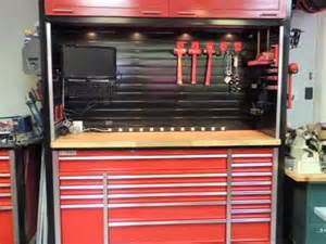 tool box top hutch custom workbench and hutch with metal slatwall