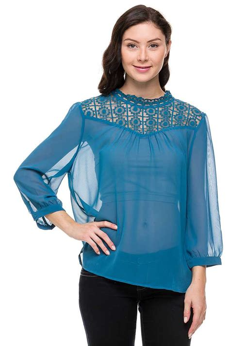 Mock Neck Lace Sheer Top lace contrast mock neck sheer top in plus size