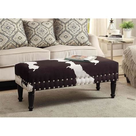 faux cowhide bench faux cowhide bench with nailheads 163923fch