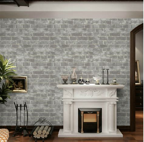 Modern Wall Coverings by Style Vintage 3d Effect Grey Brick Wallpaper Roll