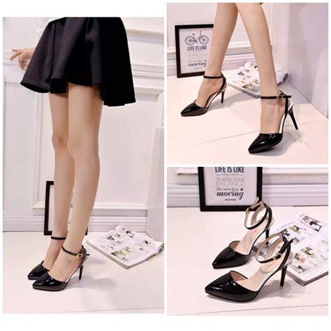 Sepatu Heel Cantik jual shh889 black sepatu heels cantik 10cm grosirimpor