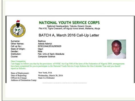 Acceptance Letter Nysc a comic nysc call up letter nysc nigeria