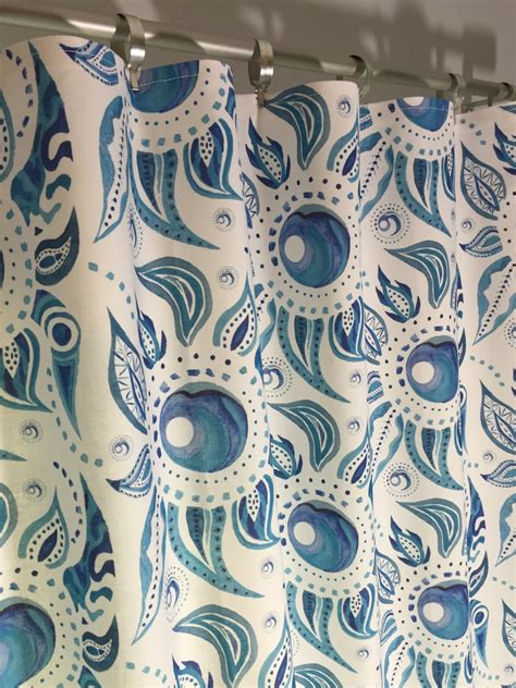 blue paisley drapes blue paisley valance flat curtain watercolor by