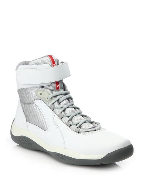 white high top sneakers for prada velcro high top sneakers in white for lyst