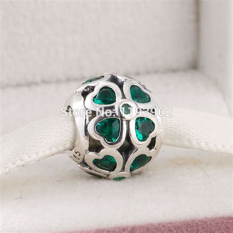 green cz clover charms fits pandora bracelets