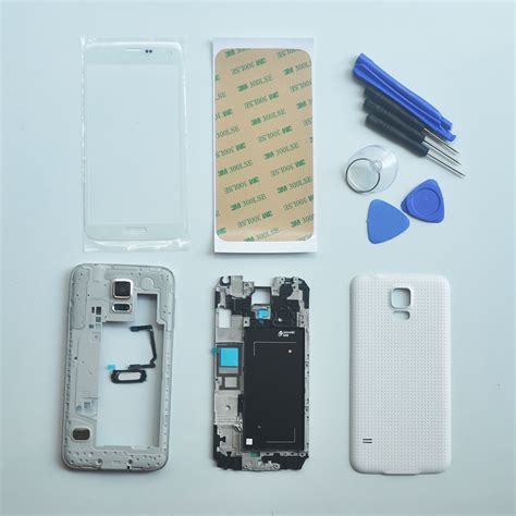 Casing Samsung Galaxy S5 G900h Fullset white housing cover repair parts outer glass with 3m adhesive tools home button for samsung